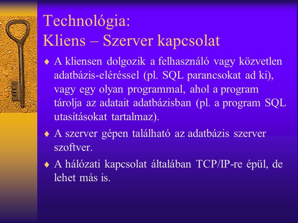 Technológia: Kliens – Szerver kapcsolat  A kliensen dolgozik a felhasználó vagy közvetlen adatbázis-eléréssel (pl.
