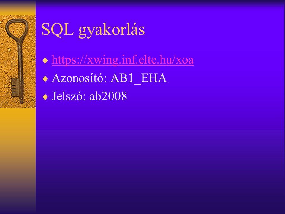 SQL gyakorlás  https://xwing.inf.elte.hu/xoa https://xwing.inf.elte.hu/xoa  Azonosító: AB1_EHA  Jelszó: ab2008