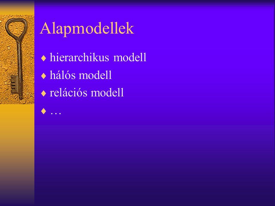 Relációs modell  az adatokat táblákban tároljuk (tábla - reláció)  a táblák között kapcsolatokat építhetünk  táblák: –minden táblát egyedi neve alapján azonosítunk –attribútumok vagy oszlopok (egyedi név, típus) –sorok vagy rekordok – 1 cellában 1 elemi érték –kulcs