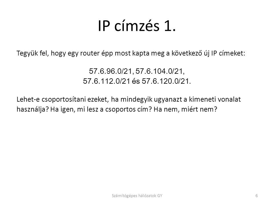 IP címzés 1. Tegyük fel, hogy egy router épp most kapta meg a következő új IP címeket: 57.6.96.0/21, 57.6.104.0/21, 57.6.112.0/21 és 57.6.120.0/21. Le