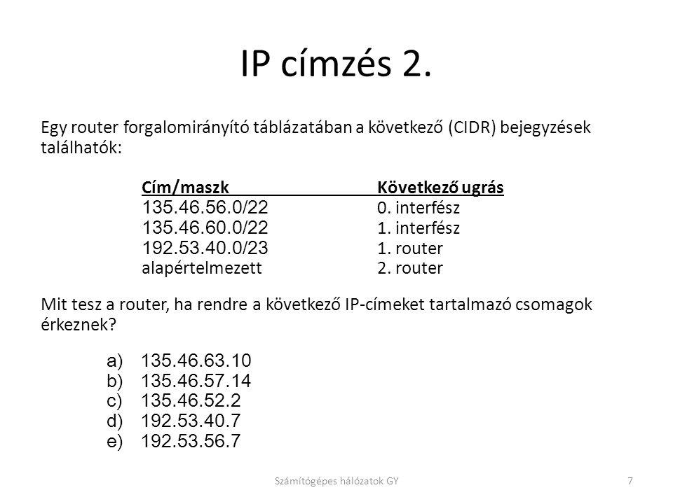 IP címzés 2. Egy router forgalomirányító táblázatában a következő (CIDR) bejegyzések találhatók: Cím/maszk Következő ugrás 135.46.56.0/22 0. interfész