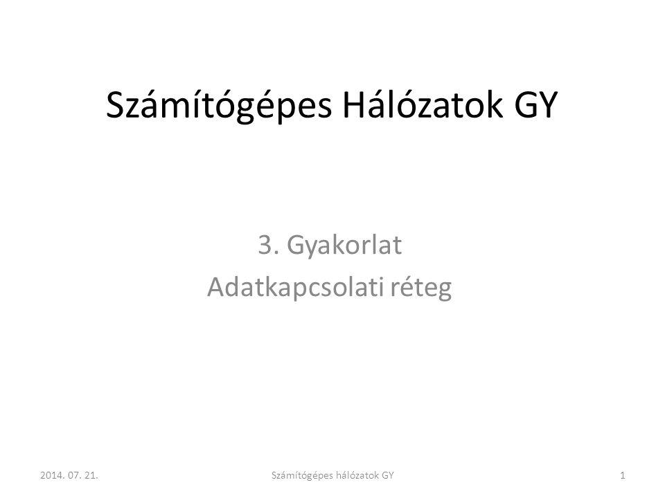 Számítógépes Hálózatok GY 3. Gyakorlat Adatkapcsolati réteg 2014. 07. 21.Számítógépes hálózatok GY1