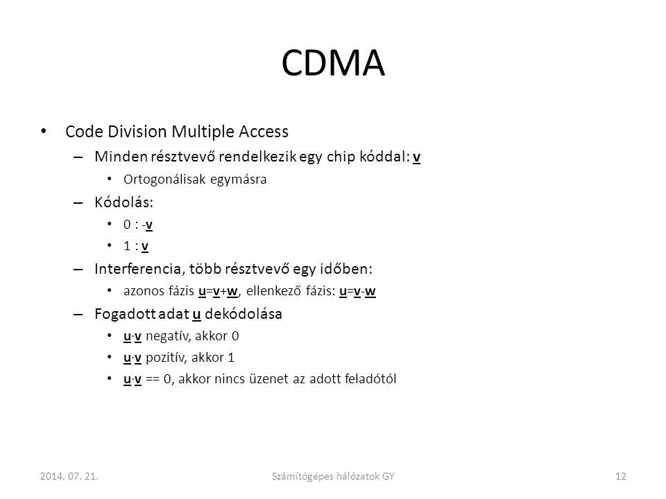 CDMA Code Division Multiple Access – Minden résztvevő rendelkezik egy chip kóddal: v Ortogonálisak egymásra – Kódolás: 0 : -v 1 : v – Interferencia, több résztvevő egy időben: azonos fázis u=v+w, ellenkező fázis: u=v-w – Fogadott adat u dekódolása u·v negatív, akkor 0 u·v pozitív, akkor 1 u·v == 0, akkor nincs üzenet az adott feladótól Számítógépes hálózatok GY122014.