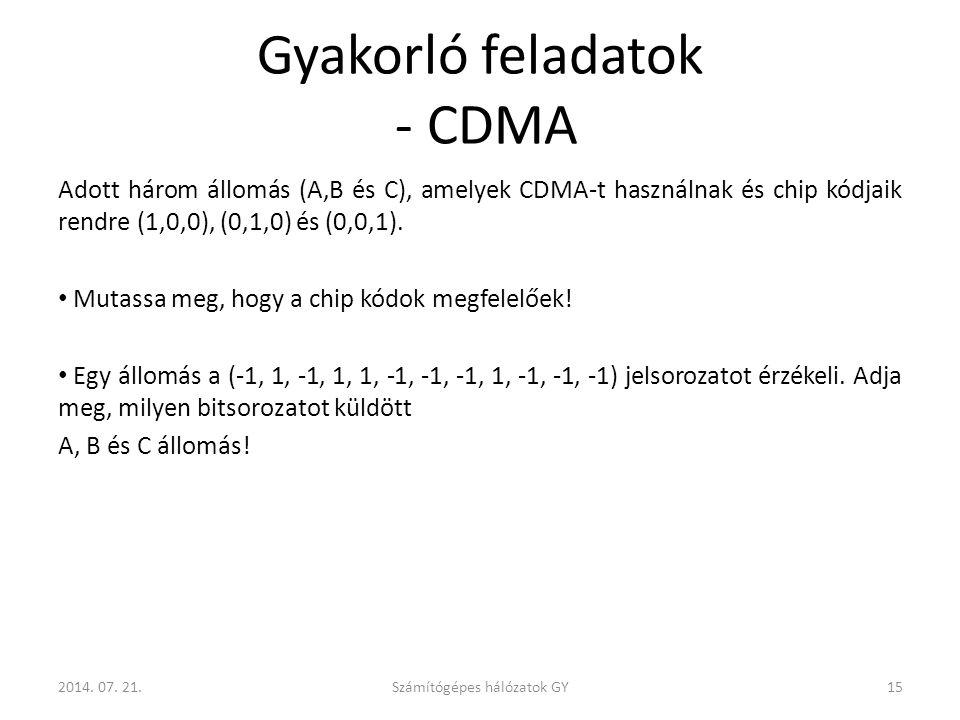 Gyakorló feladatok - CDMA Adott három állomás (A,B és C), amelyek CDMA-t használnak és chip kódjaik rendre (1,0,0), (0,1,0) és (0,0,1).