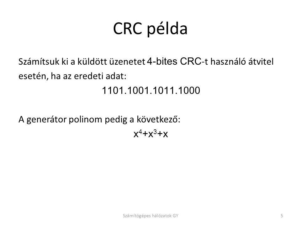 CRC példa Számítsuk ki a küldött üzenetet 4-bites CRC -t használó átvitel esetén, ha az eredeti adat: 1101.1001.1011.1000 A generátor polinom pedig a