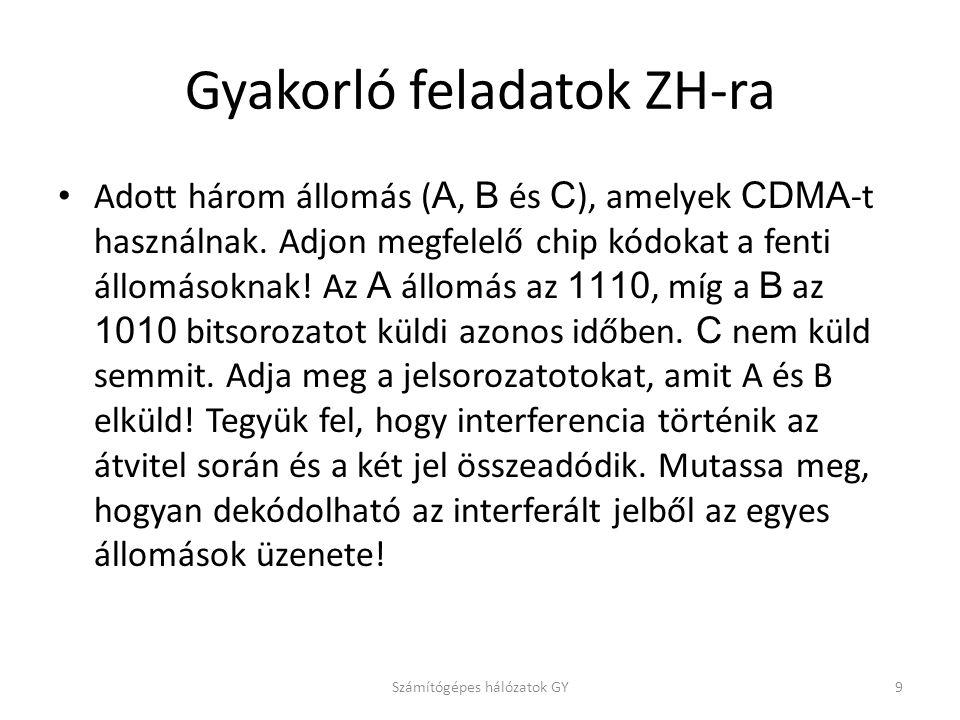 Gyakorló feladatok ZH-ra Adott három állomás ( A, B és C ), amelyek CDMA -t használnak. Adjon megfelelő chip kódokat a fenti állomásoknak! Az A állomá