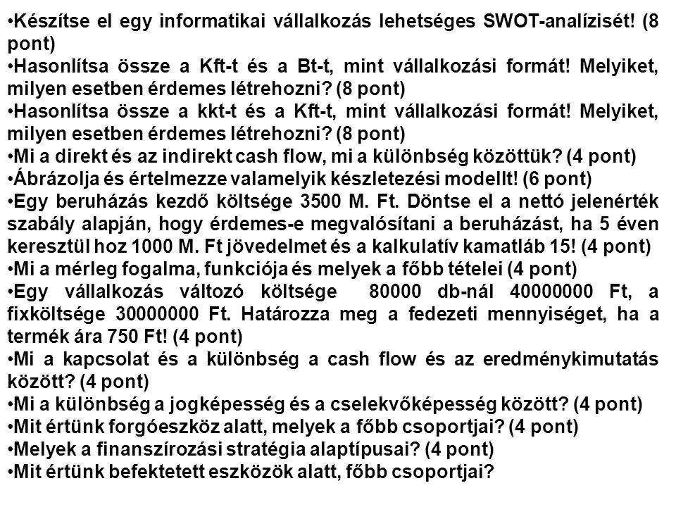 Készítse el egy informatikai vállalkozás lehetséges SWOT-analízisét.