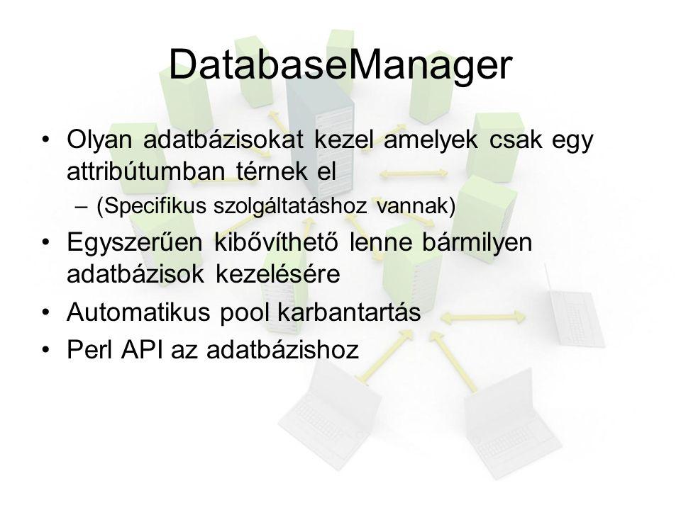 DatabaseManager Olyan adatbázisokat kezel amelyek csak egy attribútumban térnek el –(Specifikus szolgáltatáshoz vannak) Egyszerűen kibővíthető lenne bármilyen adatbázisok kezelésére Automatikus pool karbantartás Perl API az adatbázishoz