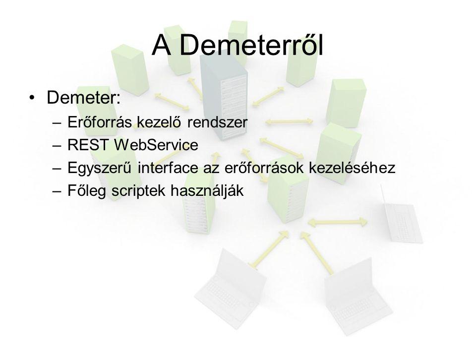 A Demeterről Demeter: –Erőforrás kezelő rendszer –REST WebService –Egyszerű interface az erőforrások kezeléséhez –Főleg scriptek használják