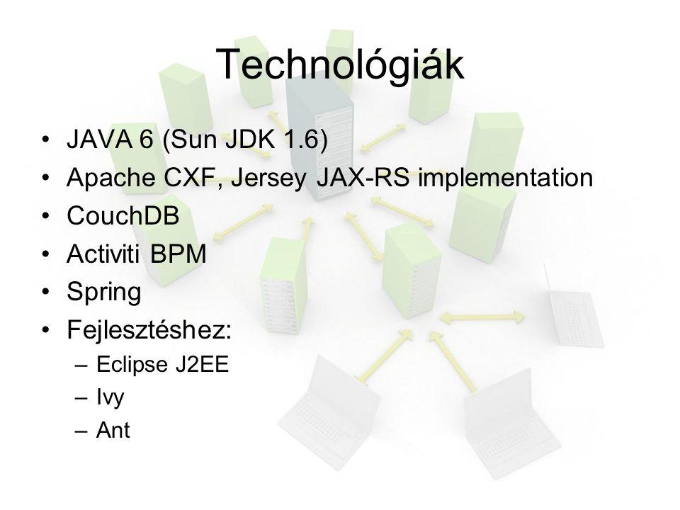 Technológiák JAVA 6 (Sun JDK 1.6) Apache CXF, Jersey JAX-RS implementation CouchDB Activiti BPM Spring Fejlesztéshez: –Eclipse J2EE –Ivy –Ant