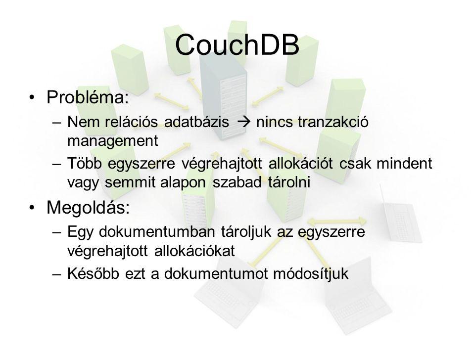 CouchDB Probléma: –Nem relációs adatbázis  nincs tranzakció management –Több egyszerre végrehajtott allokációt csak mindent vagy semmit alapon szabad tárolni Megoldás: –Egy dokumentumban tároljuk az egyszerre végrehajtott allokációkat –Később ezt a dokumentumot módosítjuk
