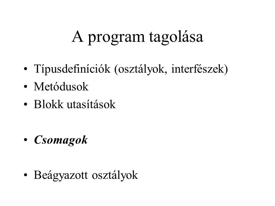 A program tagolása Típusdefiníciók (osztályok, interfészek) Metódusok Blokk utasítások Csomagok Beágyazott osztályok
