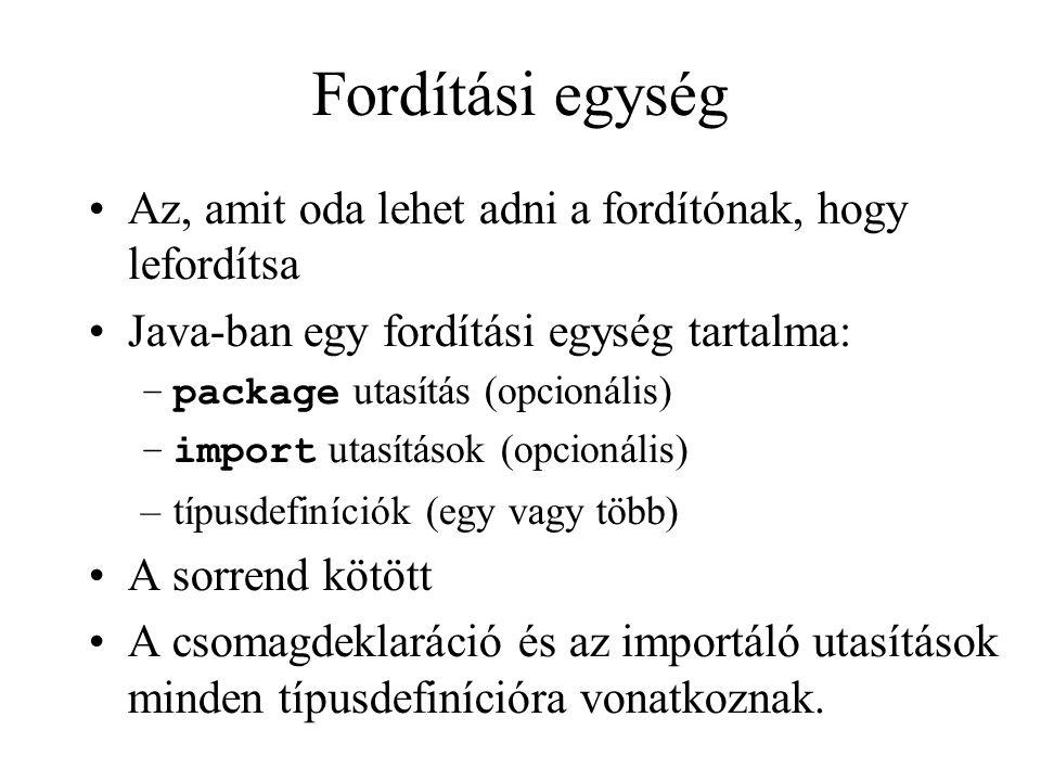 Fordítási egység Az, amit oda lehet adni a fordítónak, hogy lefordítsa Java-ban egy fordítási egység tartalma: –package utasítás (opcionális) –import