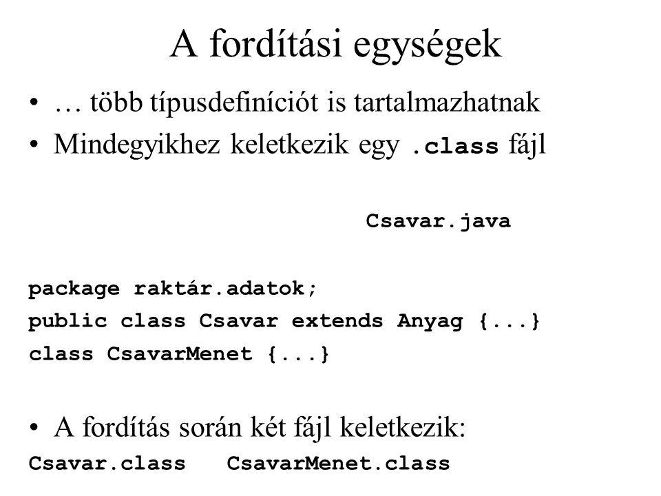 A fordítási egységek … több típusdefiníciót is tartalmazhatnak Mindegyikhez keletkezik egy.class fájl Csavar.java package raktár.adatok; public class Csavar extends Anyag {...} class CsavarMenet {...} A fordítás során két fájl keletkezik: Csavar.class CsavarMenet.class