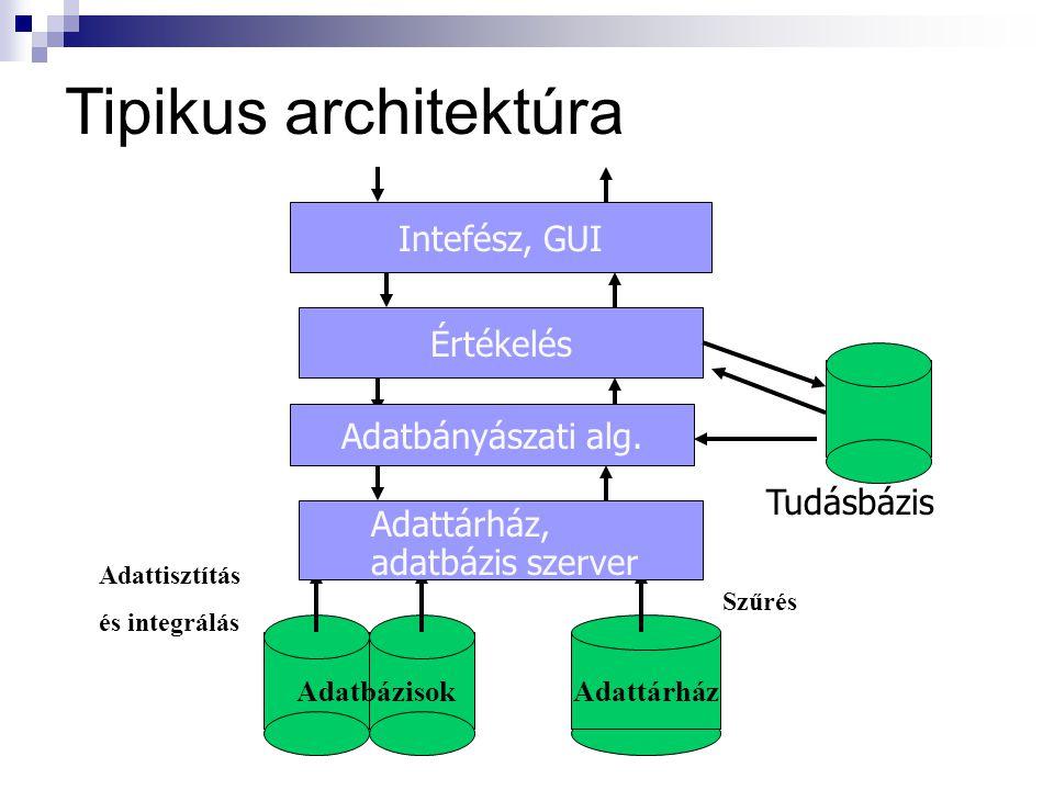 Tipikus architektúra Adattárház Adattisztítás és integrálás Szűrés Adatbázisok Adattárház, adatbázis szerver Adatbányászati alg.