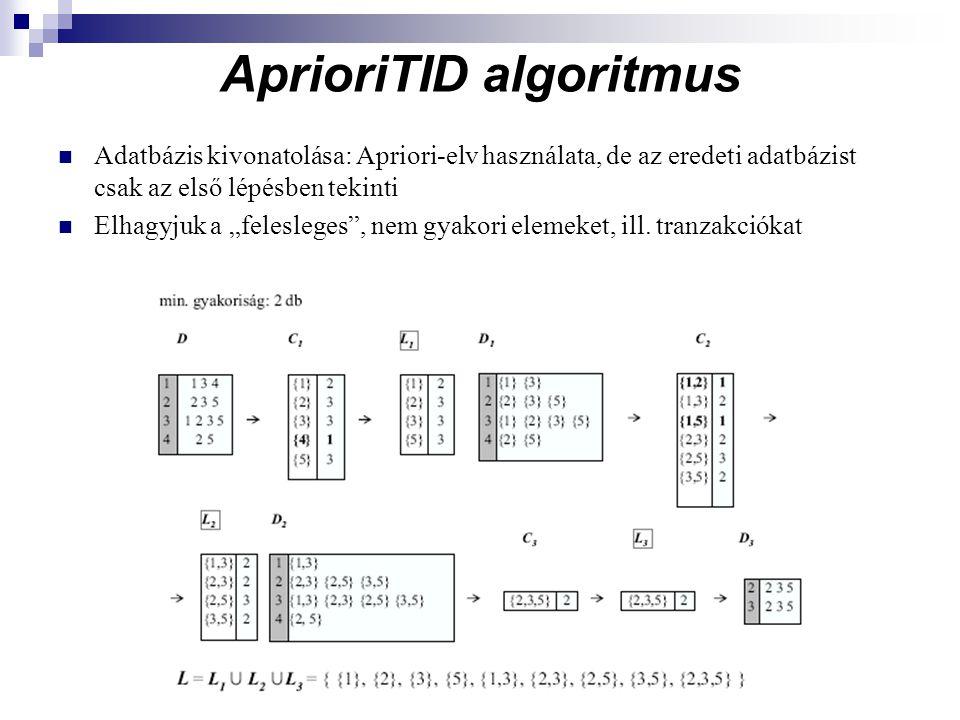 """AprioriTID algoritmus Adatbázis kivonatolása: Apriori-elv használata, de az eredeti adatbázist csak az első lépésben tekinti Elhagyjuk a """"felesleges , nem gyakori elemeket, ill."""