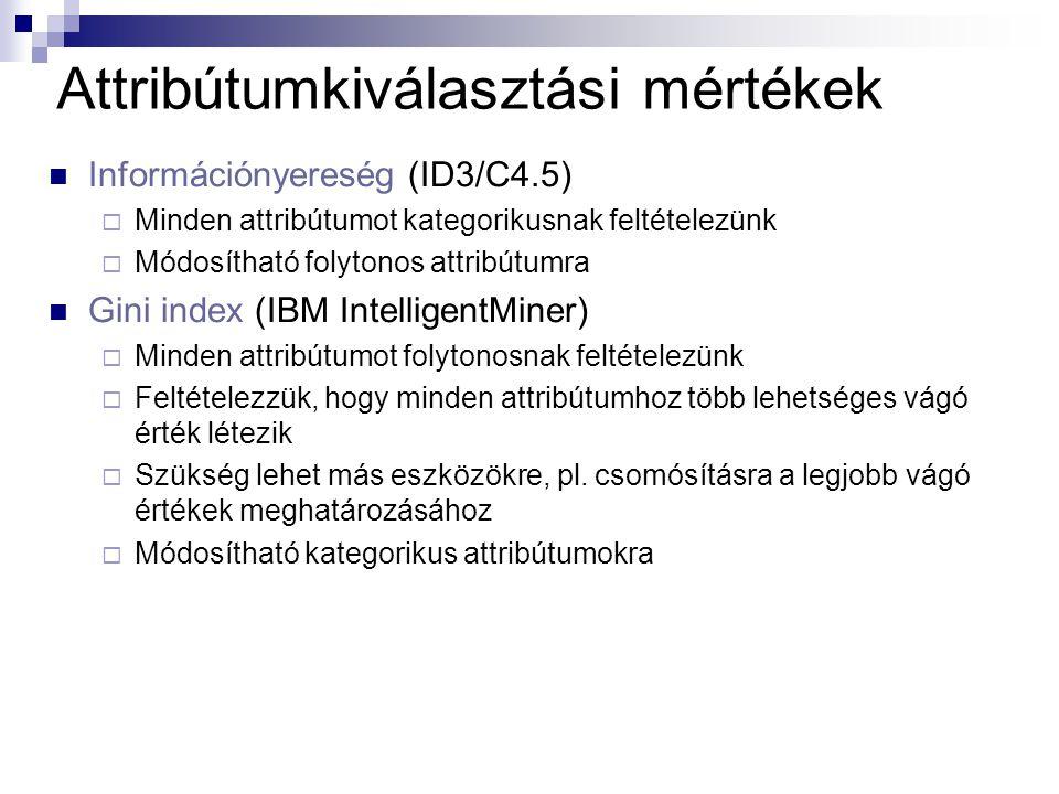 Attribútumkiválasztási mértékek Információnyereség (ID3/C4.5)  Minden attribútumot kategorikusnak feltételezünk  Módosítható folytonos attribútumra Gini index (IBM IntelligentMiner)  Minden attribútumot folytonosnak feltételezünk  Feltételezzük, hogy minden attribútumhoz több lehetséges vágó érték létezik  Szükség lehet más eszközökre, pl.