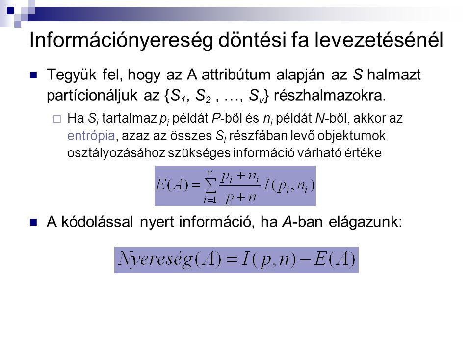 Információnyereség döntési fa levezetésénél Tegyük fel, hogy az A attribútum alapján az S halmazt partícionáljuk az {S 1, S 2, …, S v } részhalmazokra.