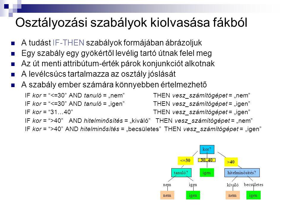 """Osztályozási szabályok kiolvasása fákból A tudást IF-THEN szabályok formájában ábrázoljuk Egy szabály egy gyökértől levélig tartó útnak felel meg Az út menti attribútum-érték párok konjunkciót alkotnak A levélcsúcs tartalmazza az osztály jóslását A szabály ember számára könnyebben értelmezhető IF kor = <=30 AND tanuló = """"nem THEN vesz_számítógépet = """"nem IF kor = <=30 AND tanuló = """"igen THEN vesz_számítógépet = """"igen IF kor = 31…40 THEN vesz_számítógépet = """"igen IF kor = >40 AND hitelminősítés = """"kiváló THEN vesz_számítógépet = """"nem IF kor = >40 AND hitelminősítés = """"becsületes THEN vesz_számítógépet = """"igen kor."""