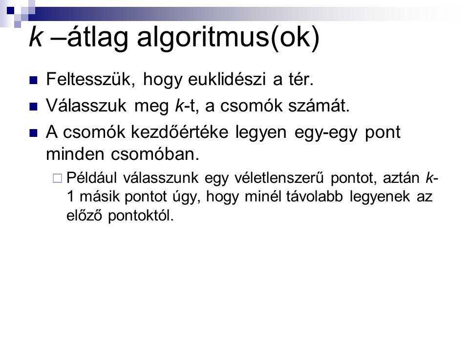 k –átlag algoritmus(ok) Feltesszük, hogy euklidészi a tér.