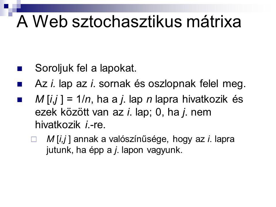A Web sztochasztikus mátrixa Soroljuk fel a lapokat.