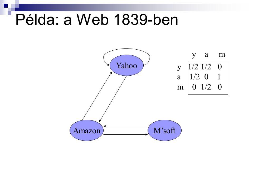 Példa: a Web 1839-ben Yahoo M'softAmazon y 1/2 1/2 0 a 1/2 0 1 m 0 1/2 0 y a m