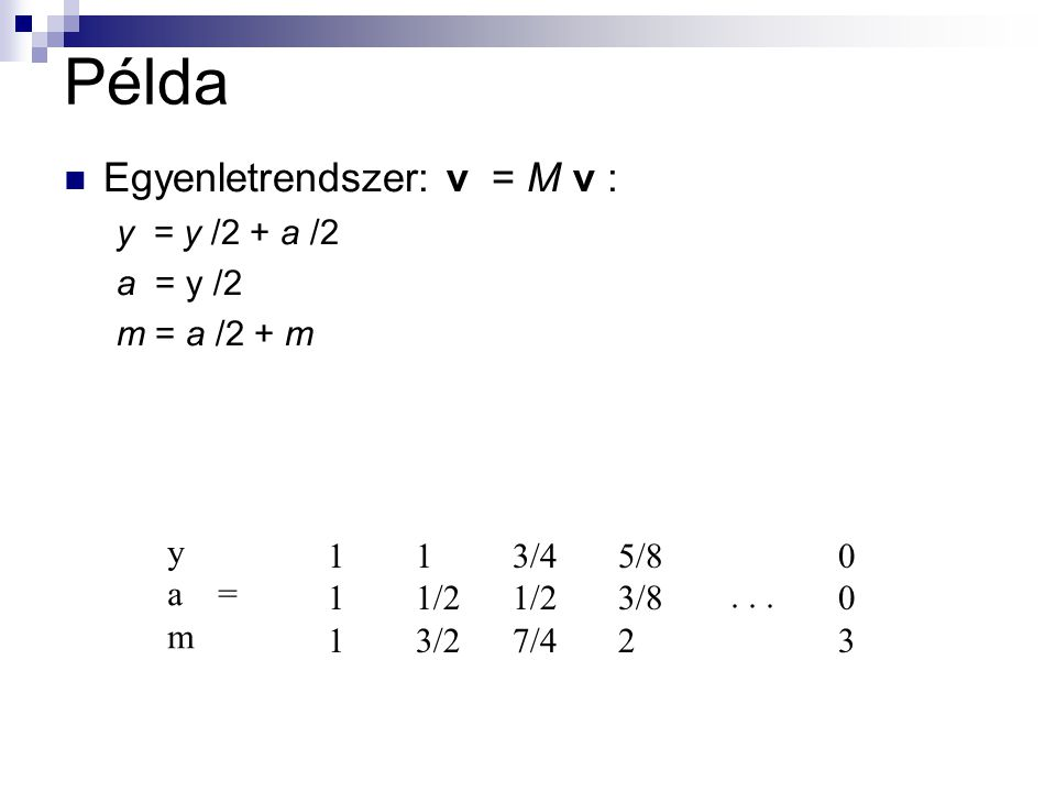 Példa Egyenletrendszer: v = M v : y = y /2 + a /2 a = y /2 m = a /2 + m y a = m 111111 1 1/2 3/2 3/4 1/2 7/4 5/8 3/8 2 003003...
