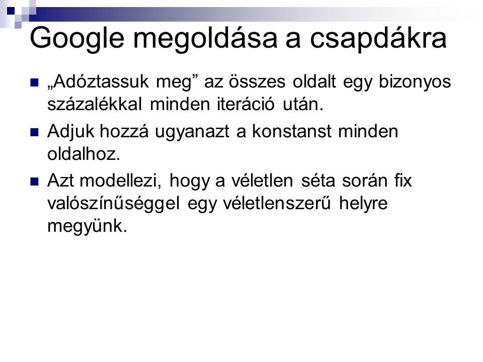 """Google megoldása a csapdákra """"Adóztassuk meg az összes oldalt egy bizonyos százalékkal minden iteráció után."""