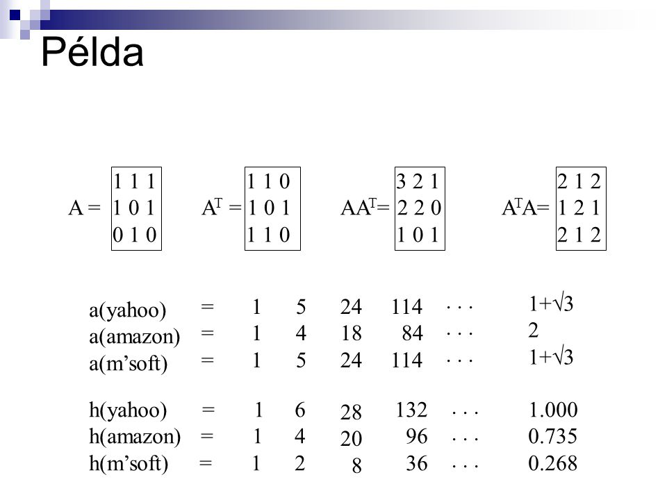 Példa 1 1 1 A = 1 0 1 0 1 0 1 1 0 A T = 1 0 1 1 1 0 3 2 1 AA T = 2 2 0 1 0 1 2 1 2 A T A= 1 2 1 2 1 2 a(yahoo) a(amazon) a(m'soft) ====== 111111 545545 24 18 24 114 84 114...
