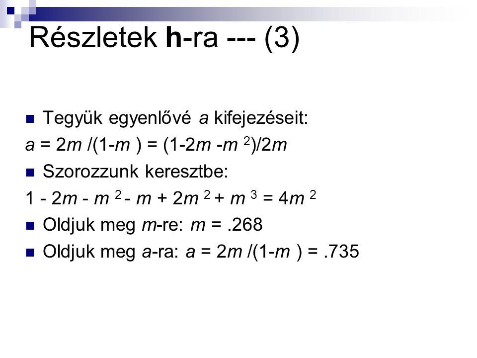 Részletek h-ra --- (3) Tegyük egyenlővé a kifejezéseit: a = 2m /(1-m ) = (1-2m -m 2 )/2m Szorozzunk keresztbe: 1 - 2m - m 2 - m + 2m 2 + m 3 = 4m 2 Oldjuk meg m-re: m =.268 Oldjuk meg a-ra: a = 2m /(1-m ) =.735