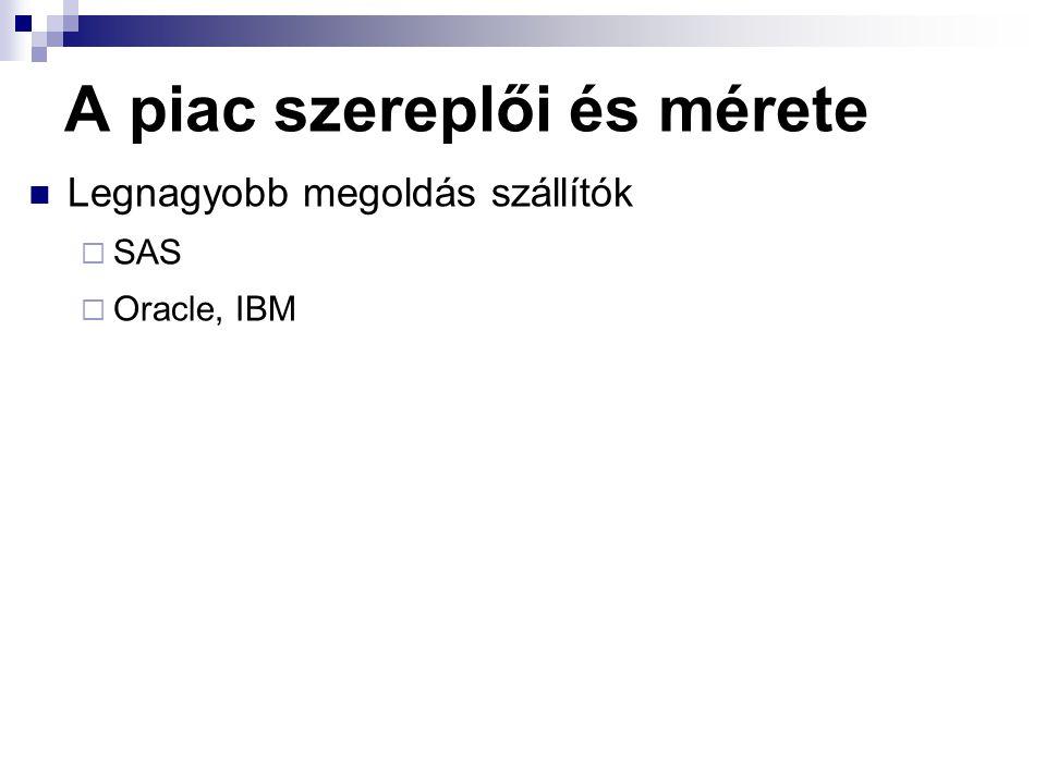 A piac szereplői és mérete Legnagyobb megoldás szállítók  SAS  Oracle, IBM