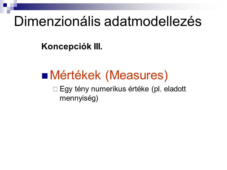 Dimenzionális adatmodellezés Koncepciók III.Mértékek (Measures)  Egy tény numerikus értéke (pl.