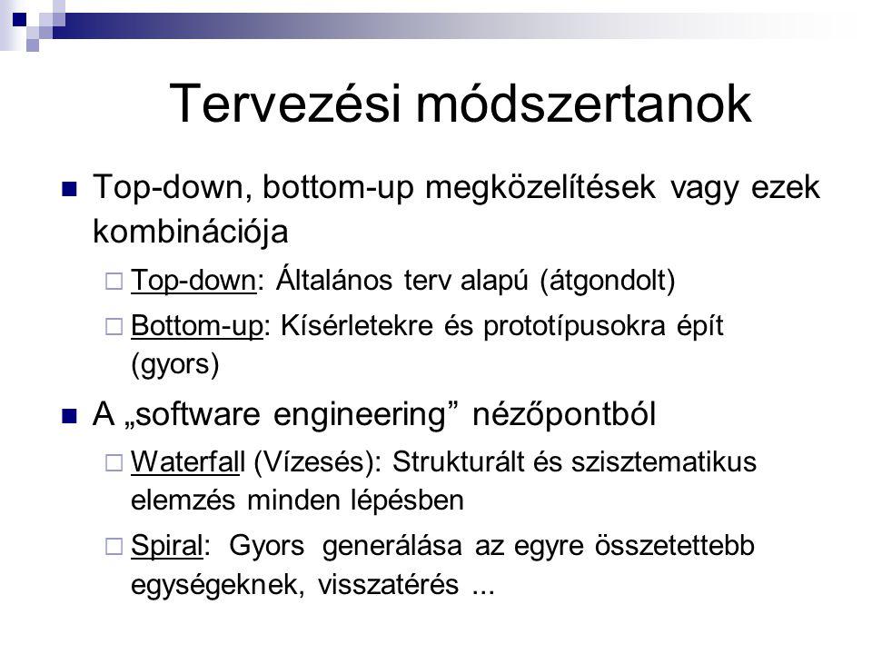 """Tervezési módszertanok Top-down, bottom-up megközelítések vagy ezek kombinációja  Top-down: Általános terv alapú (átgondolt)  Bottom-up: Kísérletekre és prototípusokra épít (gyors) A """"software engineering nézőpontból  Waterfall (Vízesés): Strukturált és szisztematikus elemzés minden lépésben  Spiral: Gyors generálása az egyre összetettebb egységeknek, visszatérés..."""