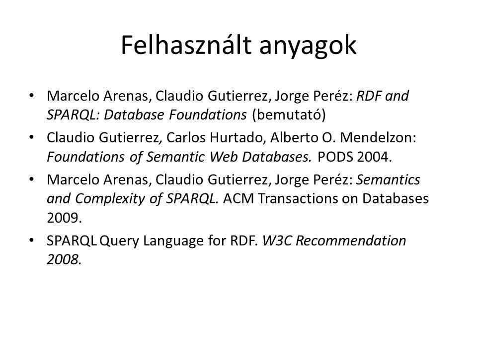 Felhasznált anyagok Marcelo Arenas, Claudio Gutierrez, Jorge Peréz: RDF and SPARQL: Database Foundations (bemutató) Claudio Gutierrez, Carlos Hurtado, Alberto O.