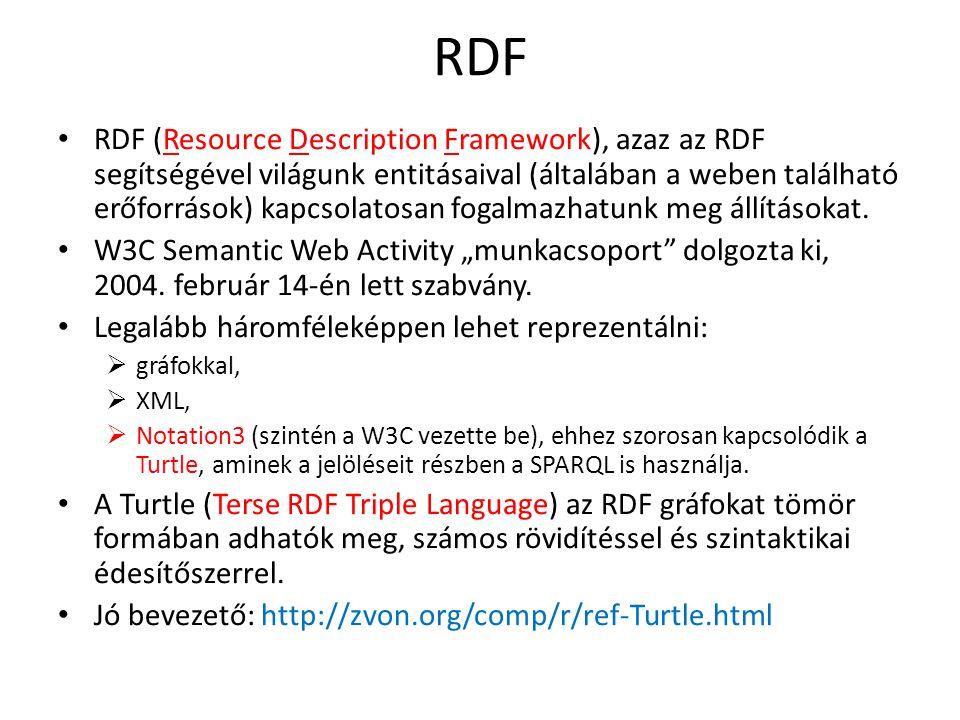 RDF RDF (Resource Description Framework), azaz az RDF segítségével világunk entitásaival (általában a weben található erőforrások) kapcsolatosan fogalmazhatunk meg állításokat.