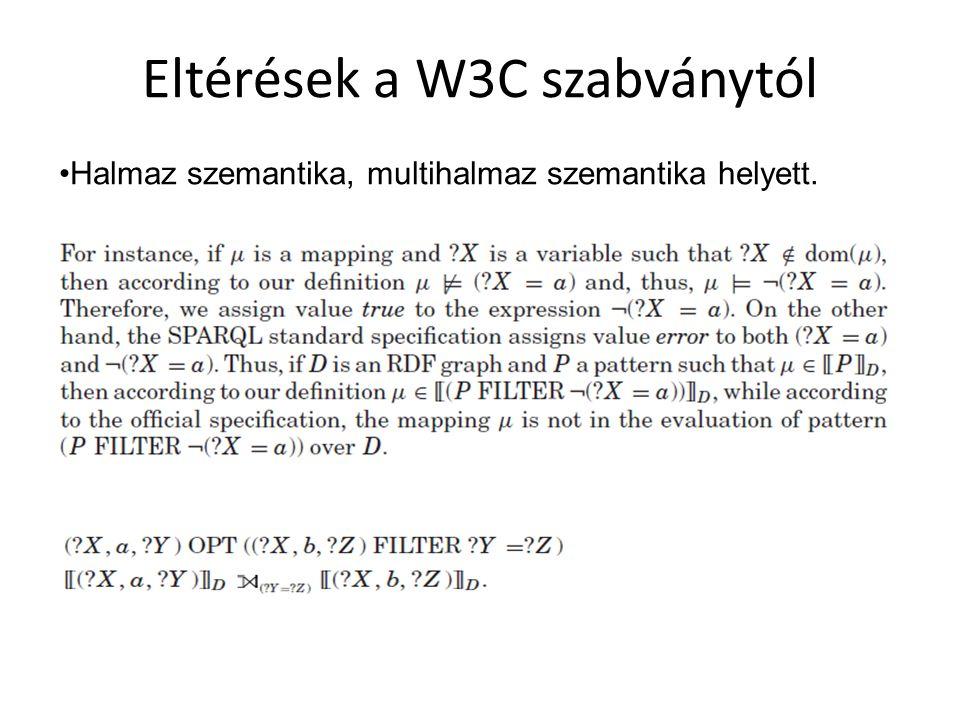 Eltérések a W3C szabványtól Halmaz szemantika, multihalmaz szemantika helyett.