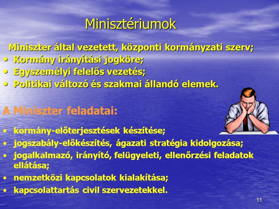 11 Miniszter által vezetett, központi kormányzati szerv; Kormány irányítási jogköre; Kormány irányítási jogköre; Egyszemélyi felelős vezetés; Egyszemé
