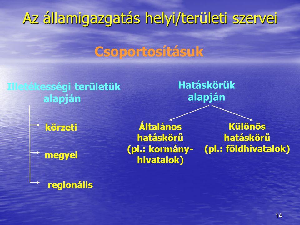 14 Az államigazgatás helyi/területi szervei Csoportosításuk Illetékességi területük alapján Hatáskörük alapján Általános hatáskörű (pl.: kormány- hiva