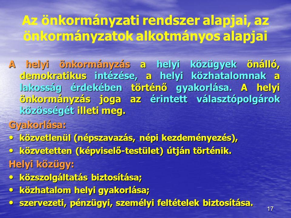 17 A helyi önkormányzás a helyi közügyek önálló, demokratikus intézése, a helyi közhatalomnak a lakosság érdekében történő gyakorlása. A helyi önkormá