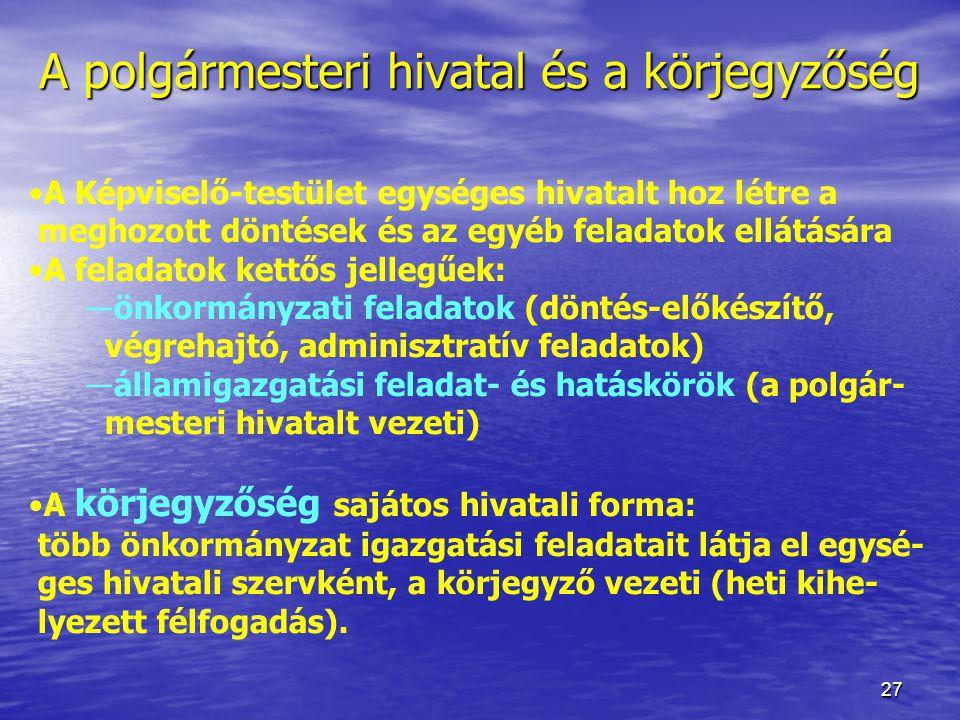 27 A polgármesteri hivatal és a körjegyzőség A Képviselő-testület egységes hivatalt hoz létre a meghozott döntések és az egyéb feladatok ellátására A