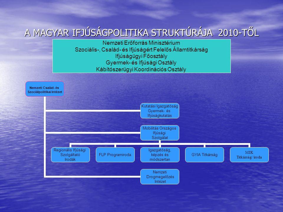 A MAGYAR IFJÚSÁGPOLITIKA STRUKTÚRÁJA 2010-TŐL Nemzeti Erőforrás Minisztérium Szociális-, Család- és Ifjúságért Felelős Államtitkárság Ifjúságügyi Főos