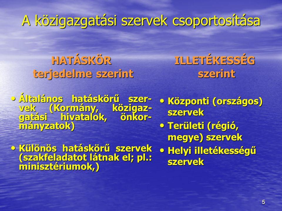 5 A közigazgatási szervek csoportosítása HATÁSKÖR terjedelme szerint terjedelme szerint Általános hatáskörű szer- vek (Kormány, közigaz- gatási hivata