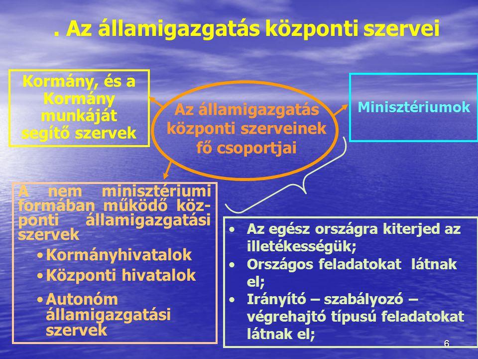7 A kormány Kormányzati tevékenysége körében: kormányprogram kidolgozása; kormányprogram kidolgozása; biztosítja a törvények végrehaj- tását, biztosítja a törvények végrehaj- tását, védi az alkotmányos rendet, gon- doskodik az állampolgári jogok érvényesüléséről védi az alkotmányos rendet, gon- doskodik az állampolgári jogok érvényesüléséről társadalmi, gazdasági tervek ki- dolgozása; társadalmi, gazdasági tervek ki- dolgozása; Magyar Köztársaság képviselete, nemzetközi szerződések kötése, külpolitikai tevékenység; Magyar Köztársaság képviselete, nemzetközi szerződések kötése, külpolitikai tevékenység; önkormányzatok törvényességi ellenőrzése; önkormányzatok törvényességi ellenőrzése; fegyveres erők, rendészeti szer- vek irányítása.
