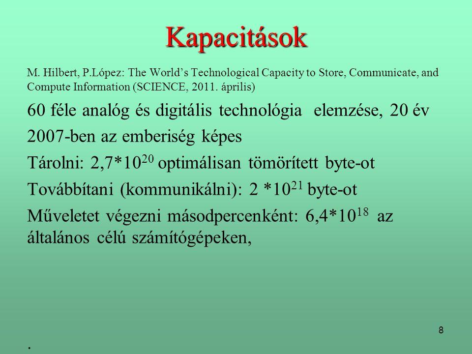 8 Kapacitások M. Hilbert, P.López: The World's Technological Capacity to Store, Communicate, and Compute Information (SCIENCE, 2011. április) 60 féle