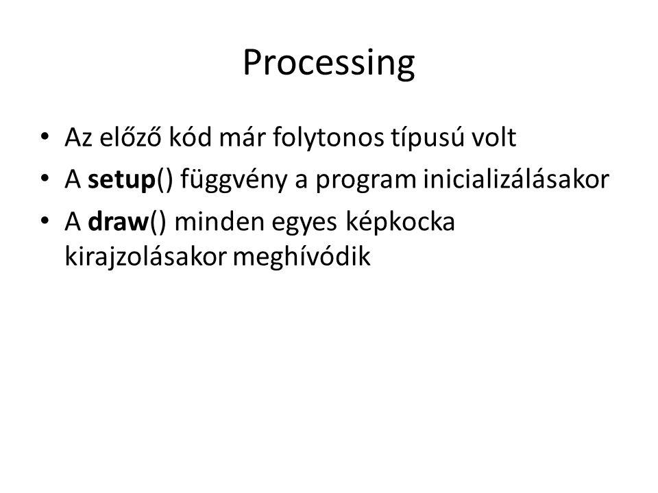 Processing Az előző kód már folytonos típusú volt A setup() függvény a program inicializálásakor A draw() minden egyes képkocka kirajzolásakor meghívó