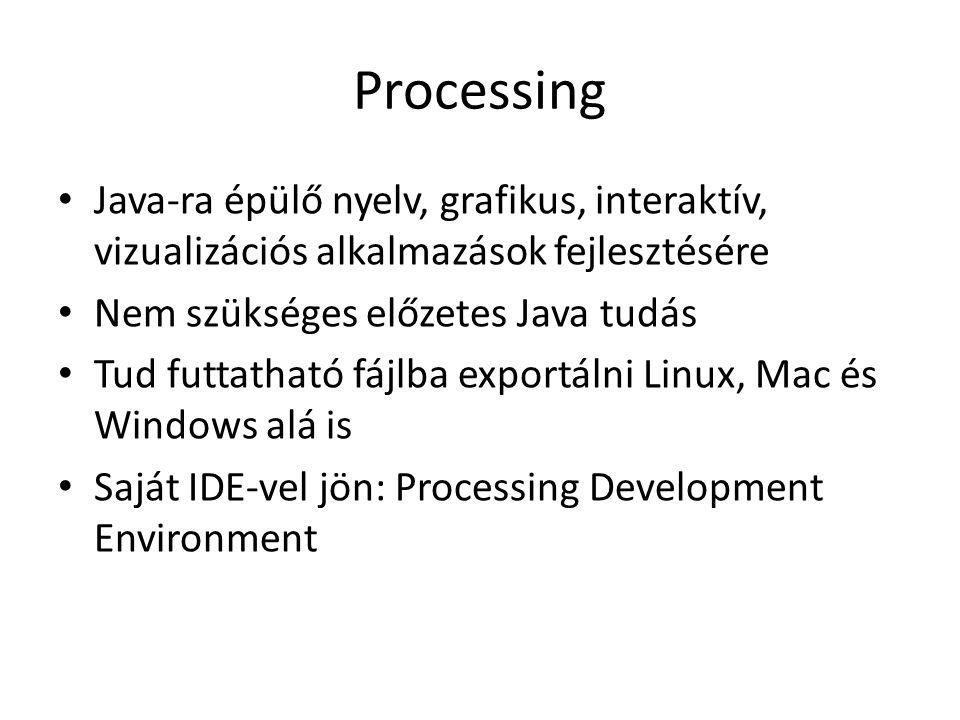 Processing Java-ra épülő nyelv, grafikus, interaktív, vizualizációs alkalmazások fejlesztésére Nem szükséges előzetes Java tudás Tud futtatható fájlba