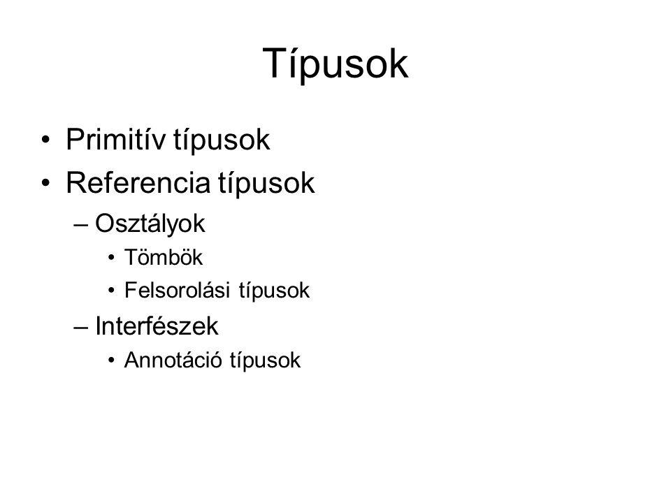 Típusok Primitív típusok Referencia típusok –Osztályok Tömbök Felsorolási típusok –Interfészek Annotáció típusok
