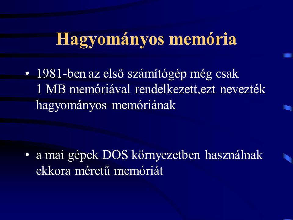 Hagyományos memória 1981-ben az első számítógép még csak 1 MB memóriával rendelkezett,ezt nevezték hagyományos memóriának a mai gépek DOS környezetben