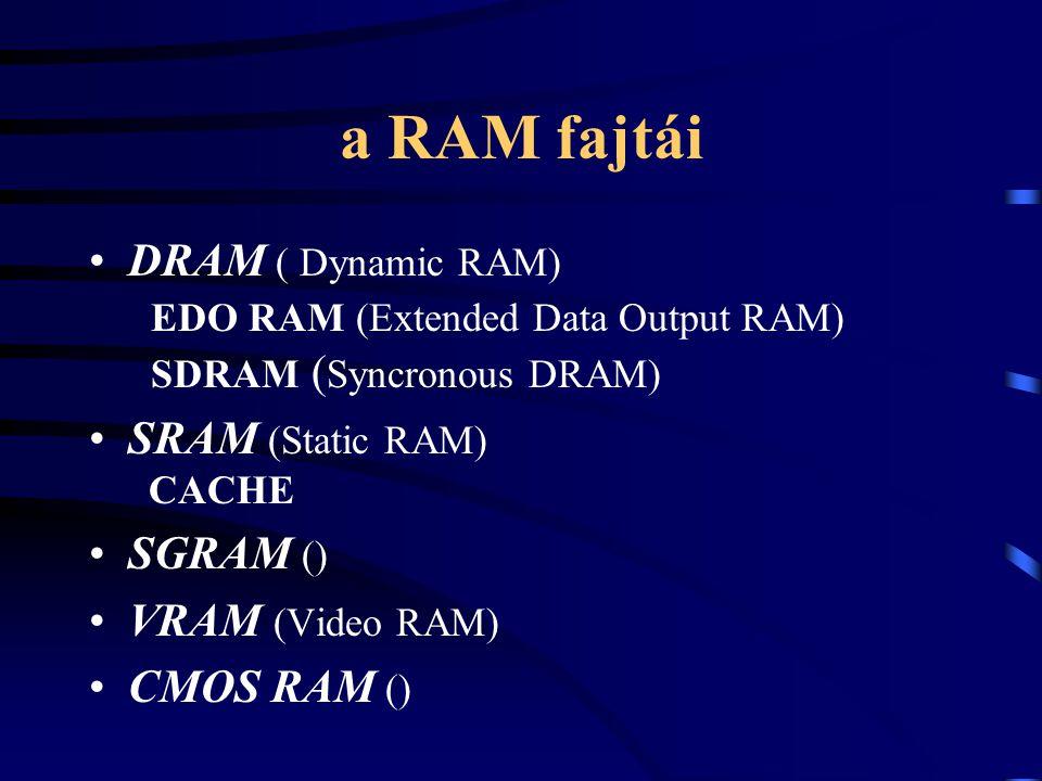 a RAM fajtái DRAM ( Dynamic RAM) EDO RAM (Extended Data Output RAM) SDRAM ( Syncronous DRAM) SRAM (Static RAM) CACHE SGRAM () VRAM (Video RAM) CMOS RA