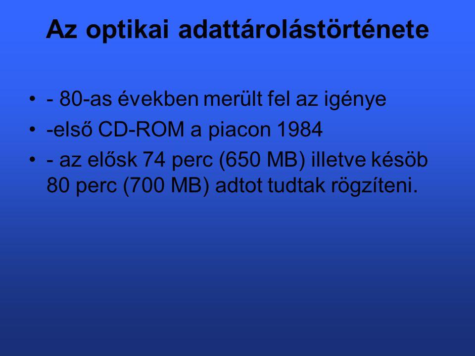 Az optikai adattárolástörténete - 80-as években merült fel az igénye -első CD-ROM a piacon 1984 - az elősk 74 perc (650 MB) illetve késöb 80 perc (700